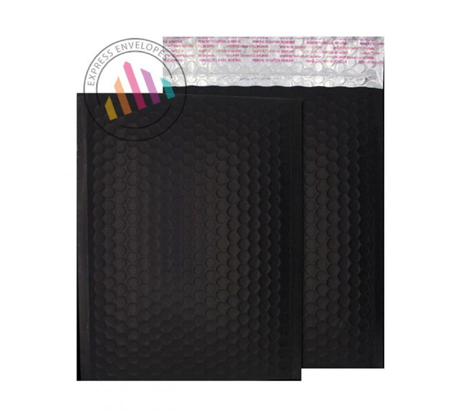 250x180mm - Jet Black Padded Bubble Envelopes - Peel and Seal