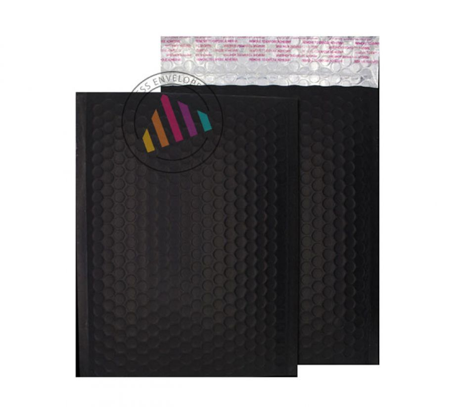 C4 - Jet Black Padded Bubble Envelopes - Peel and Seal