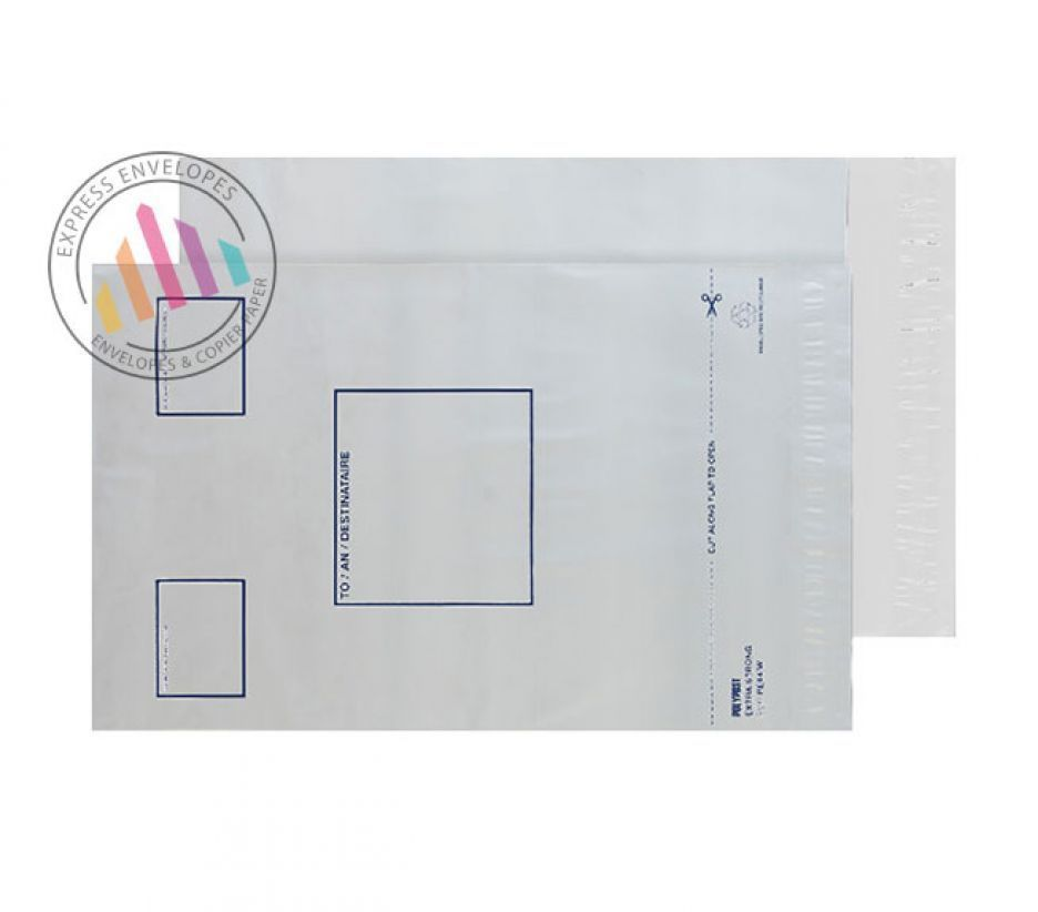 525×450mm - White Polythene Envelopes - 70µm - Non Window - Peel and Seal