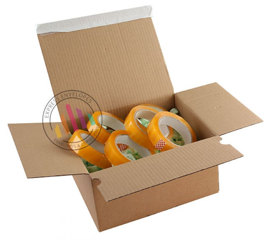 305×215×140-220mm - Kraft Postal Box - Peel and Seal