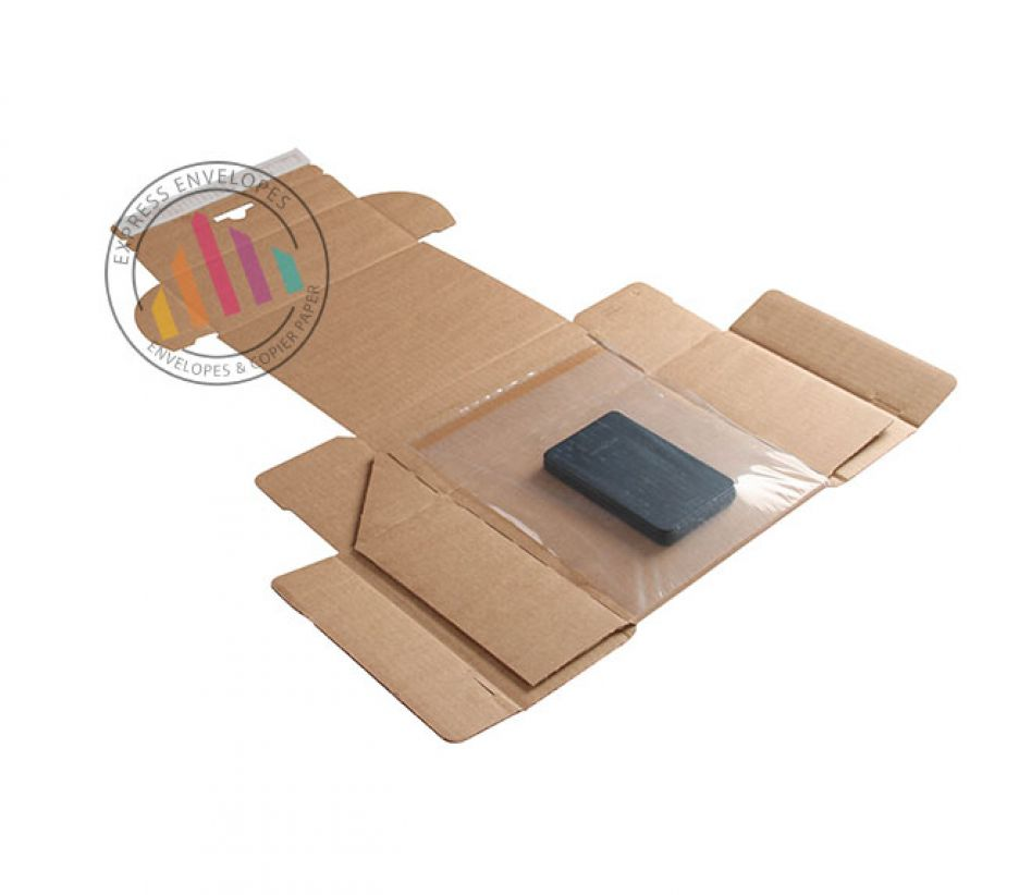 300×190×40mm - Kraft Postal Box - Peel and Seal