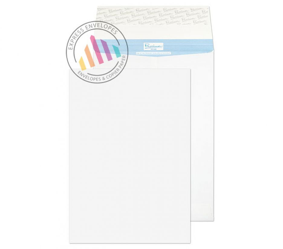 381×254×30mm - White Gusset Envelopes - 135gsm - Non Window - Peel and Seal
