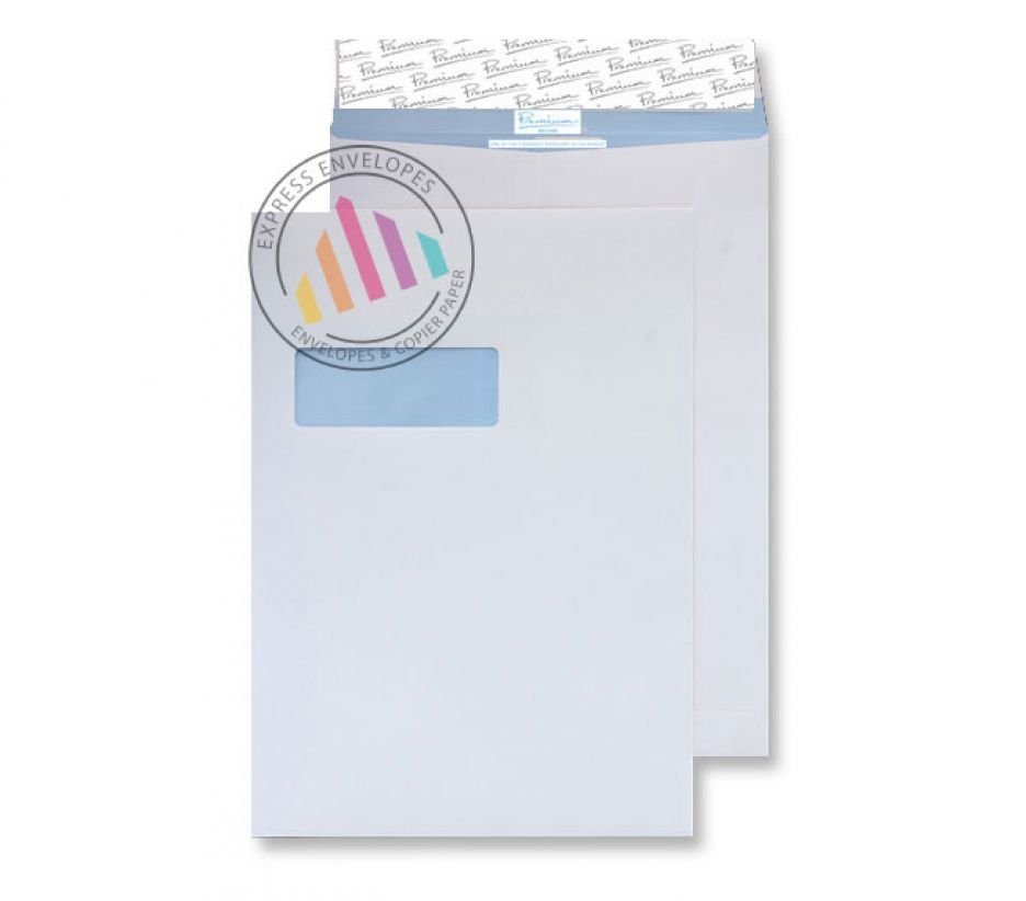C4 - Tear Resistant White Gusset Envelopes - 125gsm - Non Window - Peel and Seal