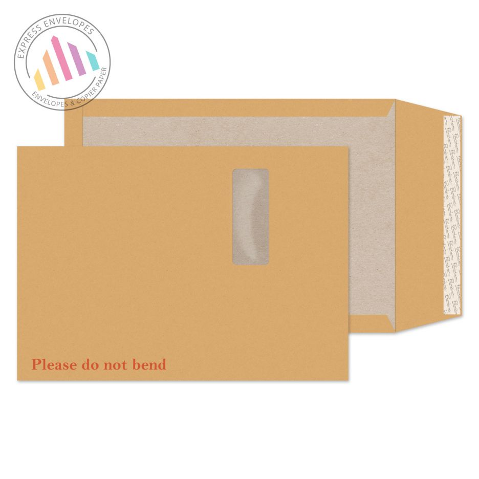 C4 - Cream Manilla Board Back Envelopes - 130gsm - Window - Peel and Seal