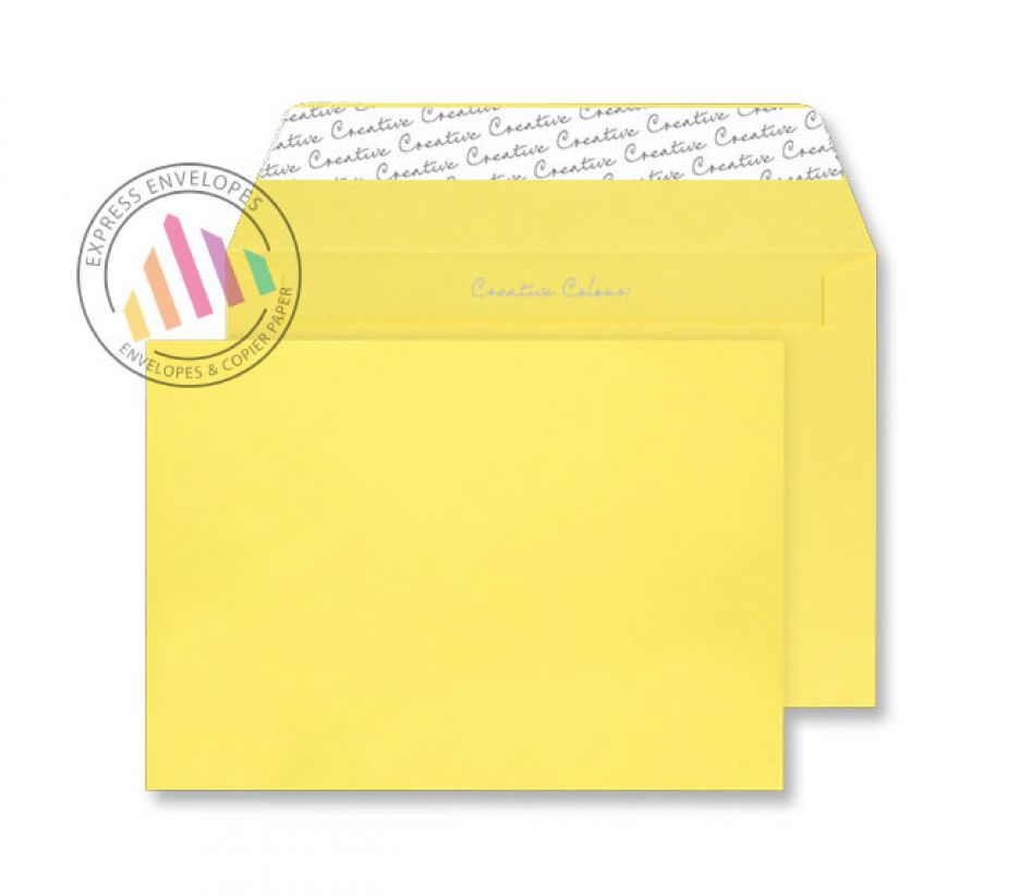 C4 - Banana Yellow Envelopes - 120gsm - Non Window - Peel and Seal
