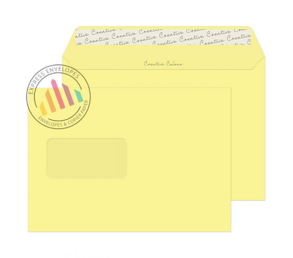 C4 - Lemon Yellow Envelopes - 120gsm - Window - Peel and Seal