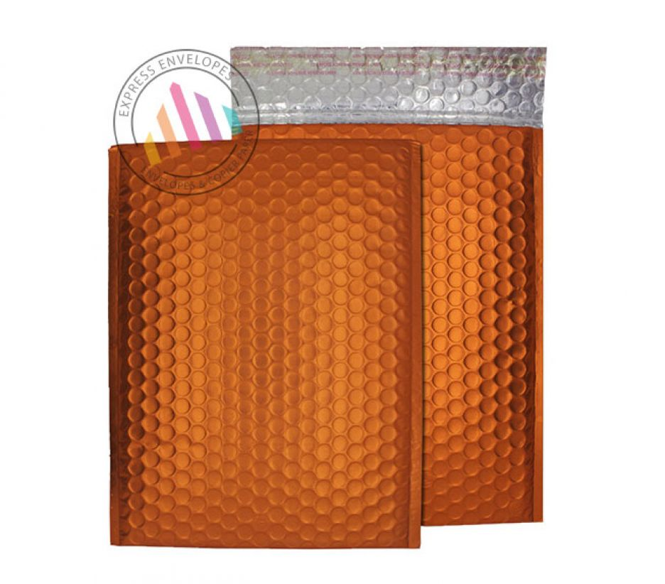 250x180mm - Flame Orange Padded Bubble Envelopes - Peel and Seal