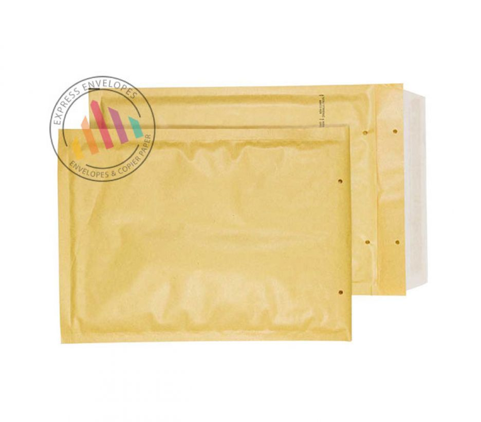 220×150mm - Gold kraft Padded Bubble Envelopes - Peel and Seal