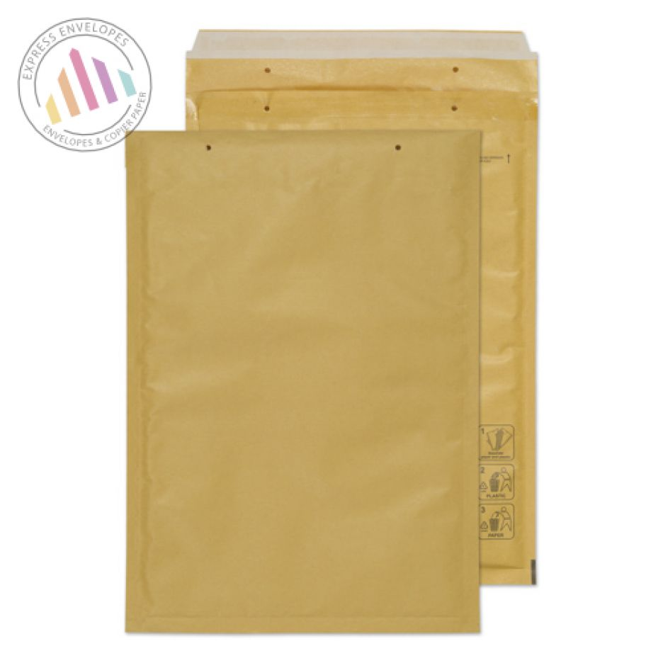 340×230mm - Gold Kraft Padded Bubble Envelopes - Peel and Seal