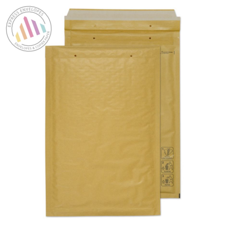 340×220mm - Gold Kraft Padded Bubble Envelopes - Peel and Seal