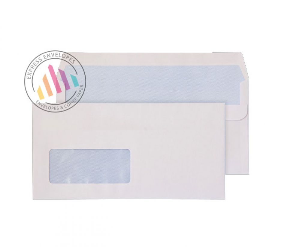 DL -  White Commercial Envelopes - 110gsm - Low Window - Self Seal
