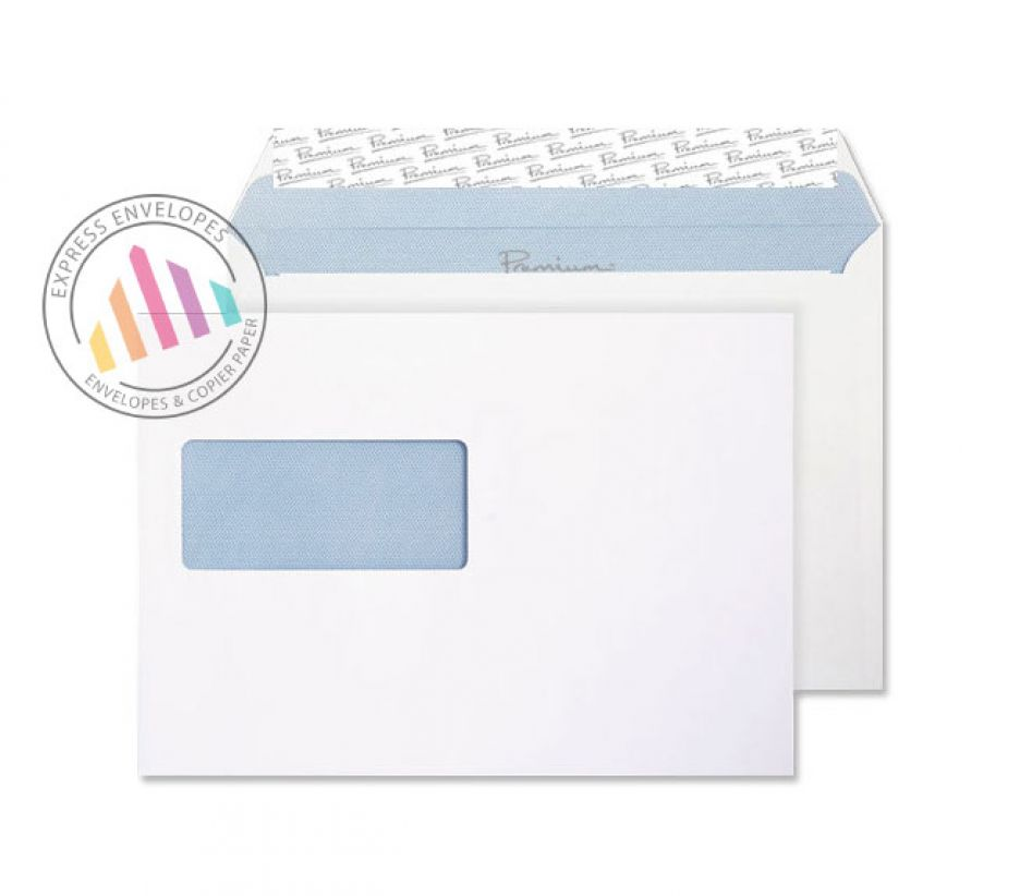 C5 - Ultra White Wove Premium Envelopes - 120gsm -  Window - Peel and Seal