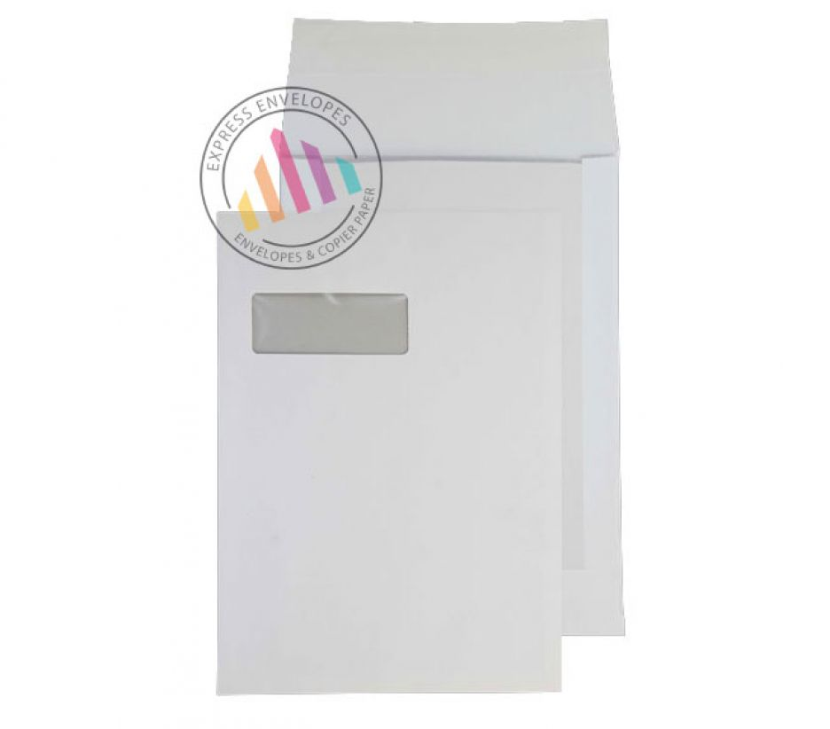C4 - White Board Back Envelopes - 150gsm - Window - Peel and Seal
