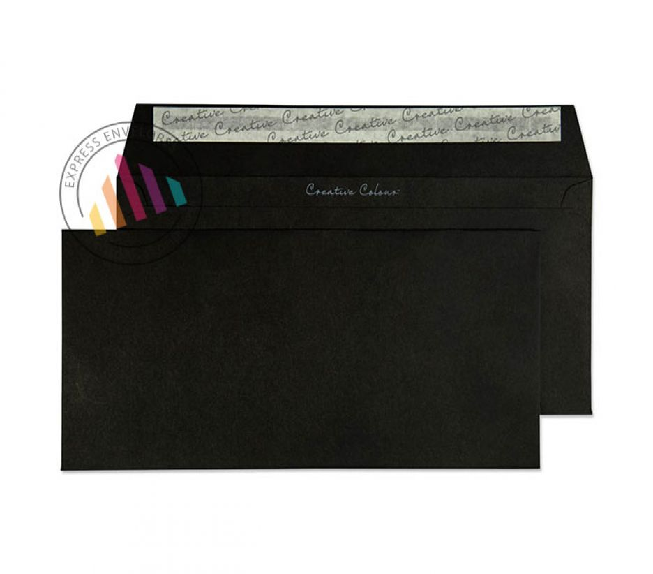 DL+ - Jet Black Envelopes - 120gsm - Non Window - Peel and Seal