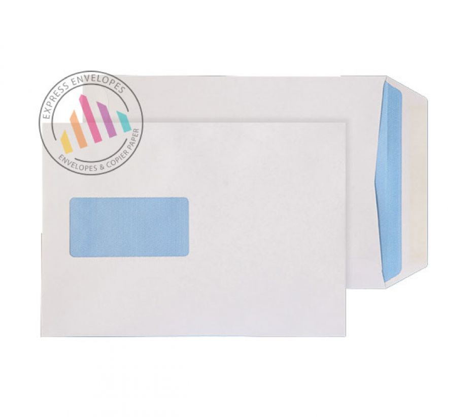 C5 - White Commercial Envelopes - 90gsm -  Window - Gummed