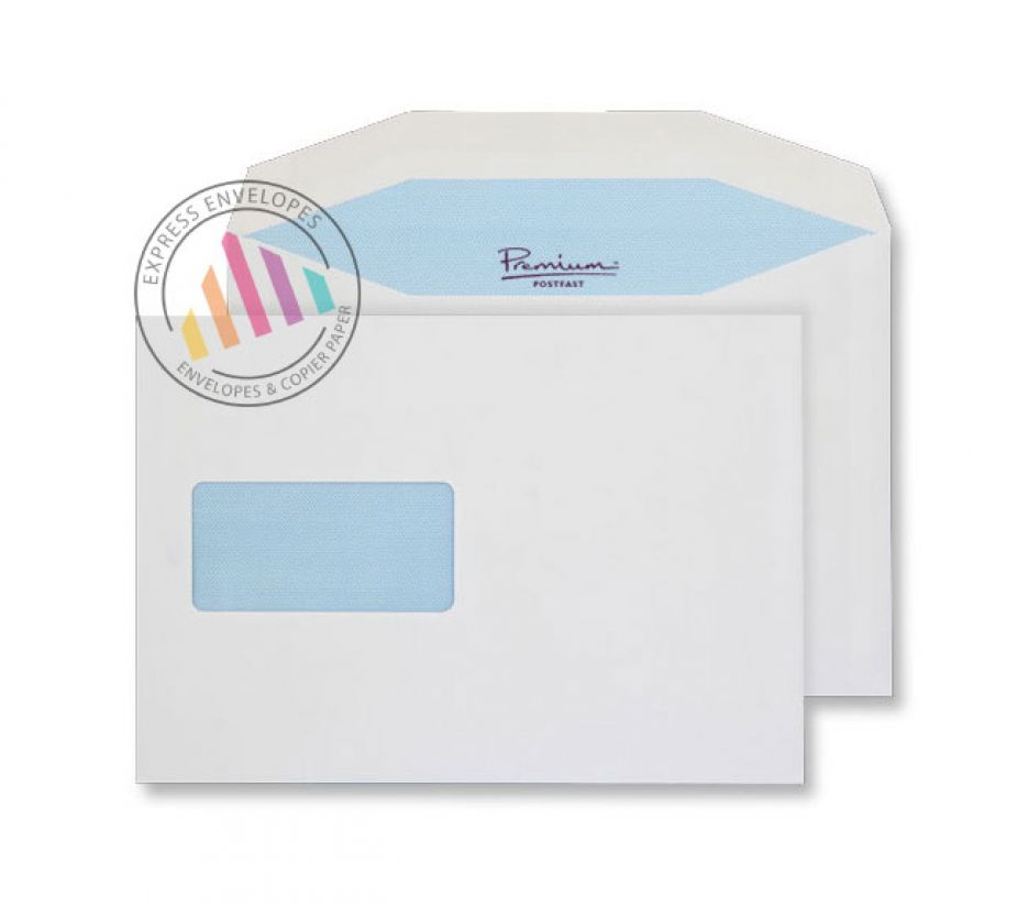 C5 - White Premium Mailing Envelopes - 90gsm - Window - Gummed