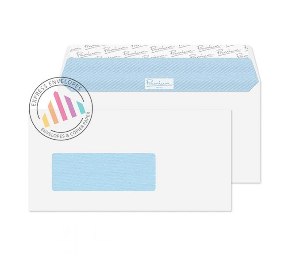 DL - Ultra White Wove Envelopes - 120gsm - European Window - Peel and Seal