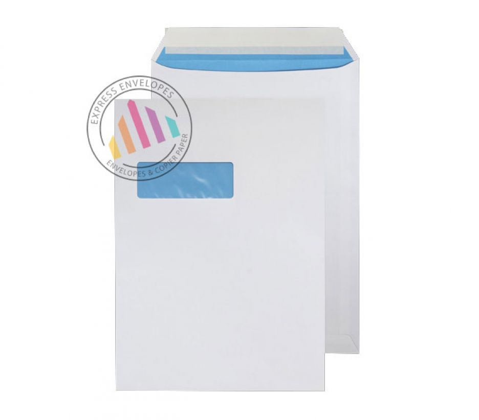 C4 - White Commercial Envelopes - 110gsm - High Window - Peal and Seal