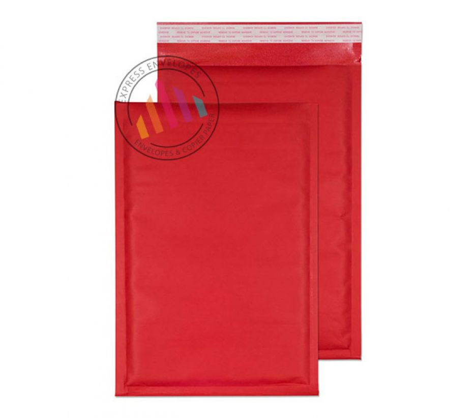 335×230mm - Red Padded Bubble Envelopes - Non Window - Peel and Seal