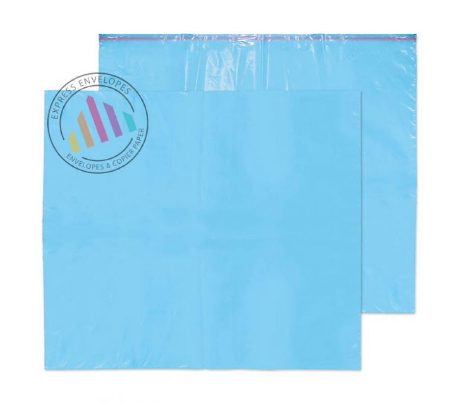 711×589mm - Caribbean Blue Polythene Envelopes - 55µm - Non Window-Peel and Seal
