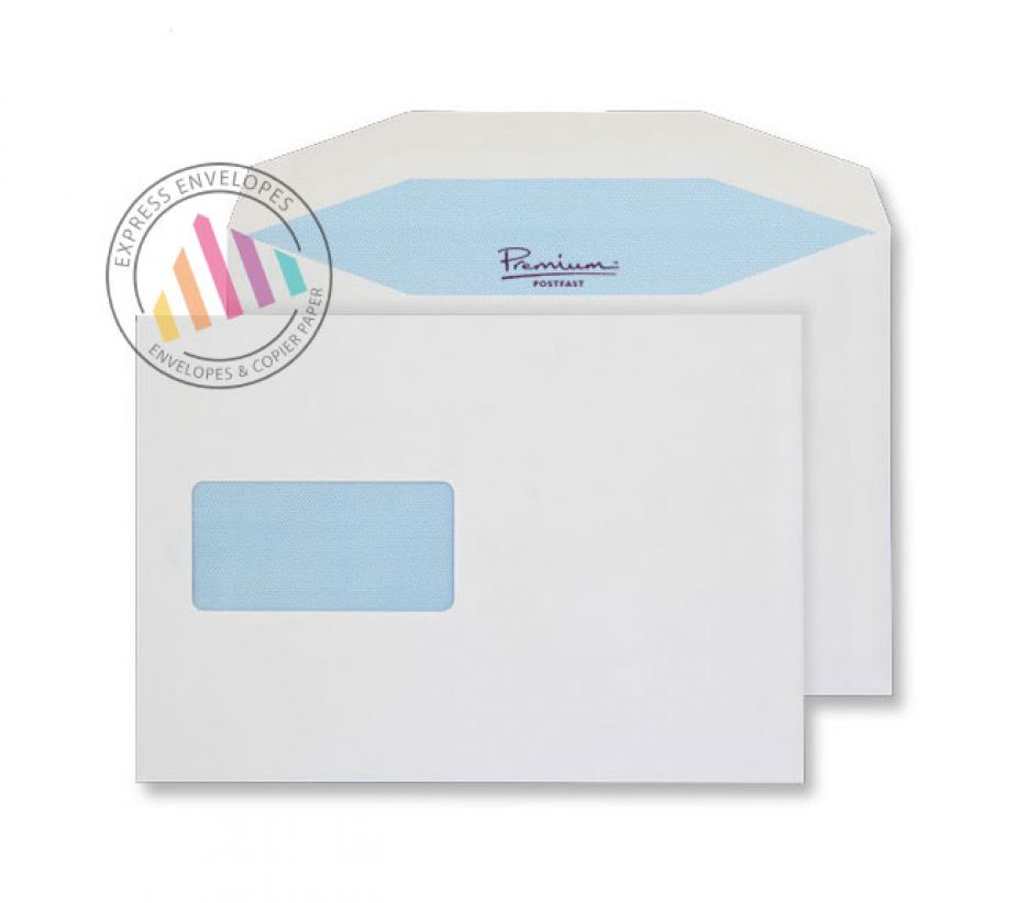 C5 - White Mailing Envelopes - 90gsm - Window - Gummed