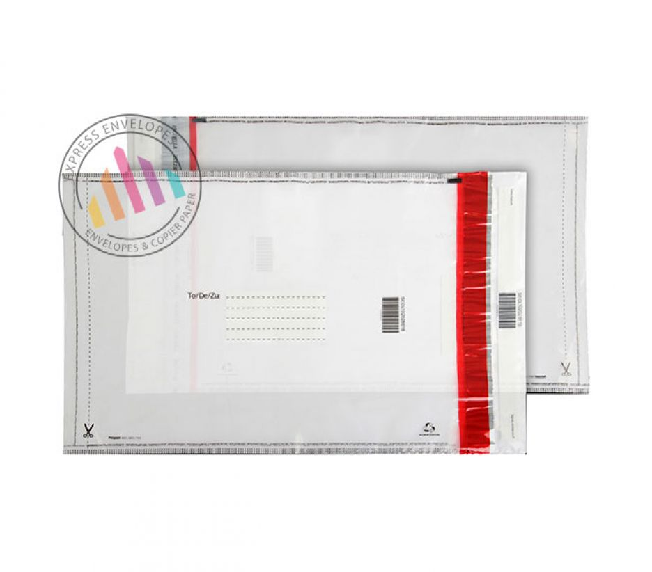 430×330mm - Clear Polythene Envelopes -70µm - Peel and Seal
