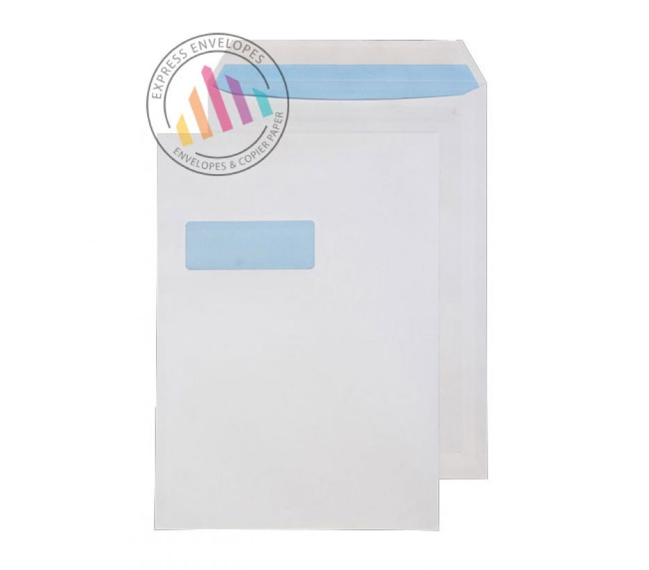C4 - White Commercial Envelopes - 120gsm - Window - Self Seal