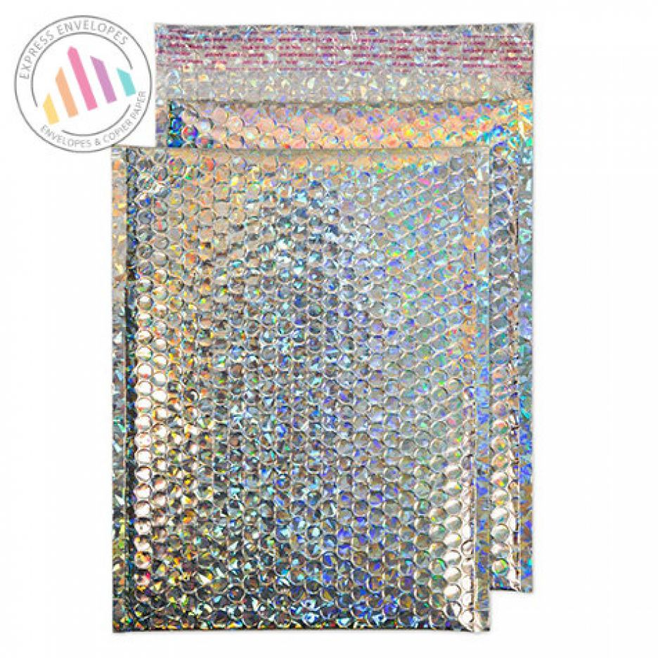 C4 - HOLOGRAPHIC PADDED BUBBLE ENVELOPES - NON WINDOW - PEEL AND SEAL