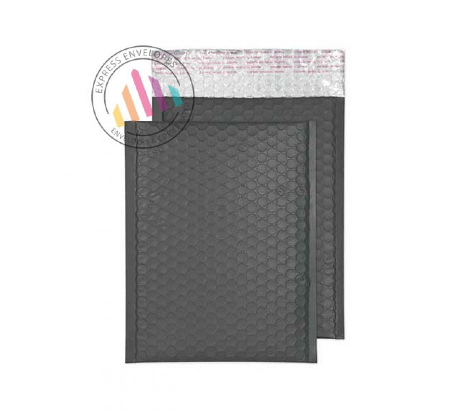 250×180mm - Graphite Grey Padded Bubble Envelopes - Peel and Seal