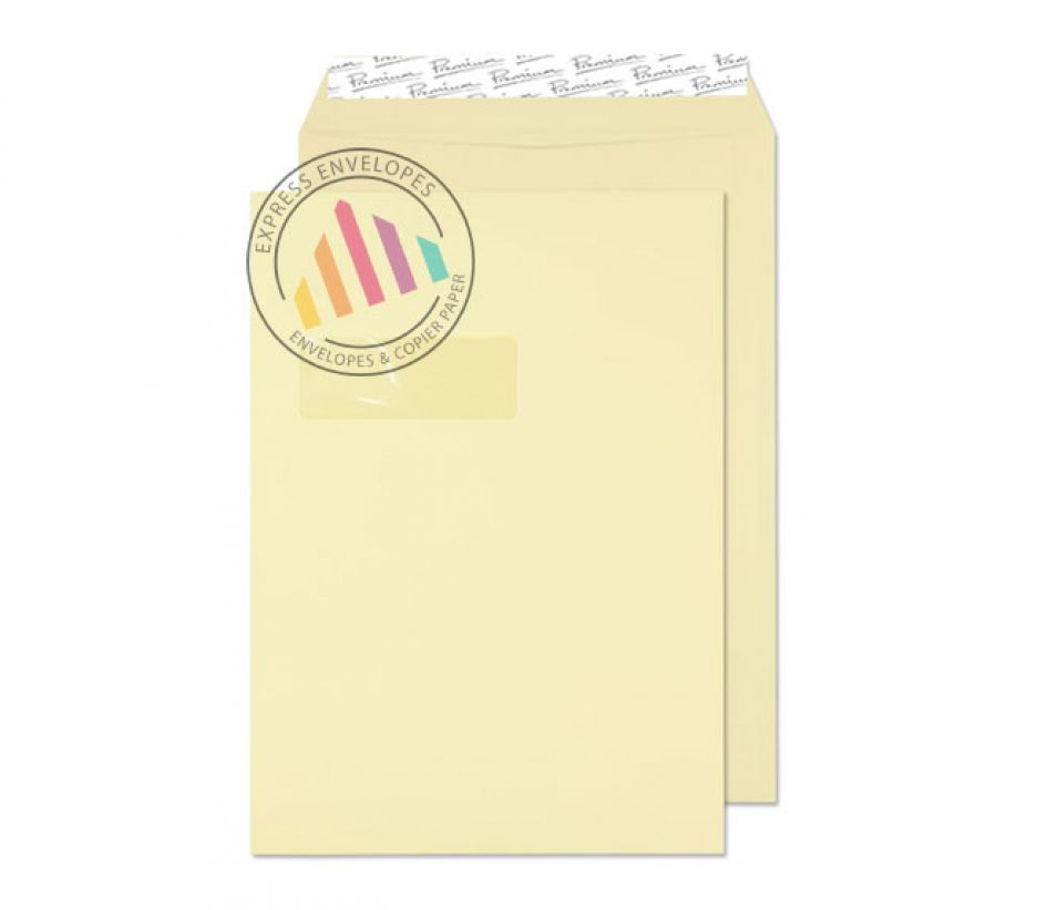 C4 - Vellum Laid Envelopes - 120gsm - Window - Peel and Seal