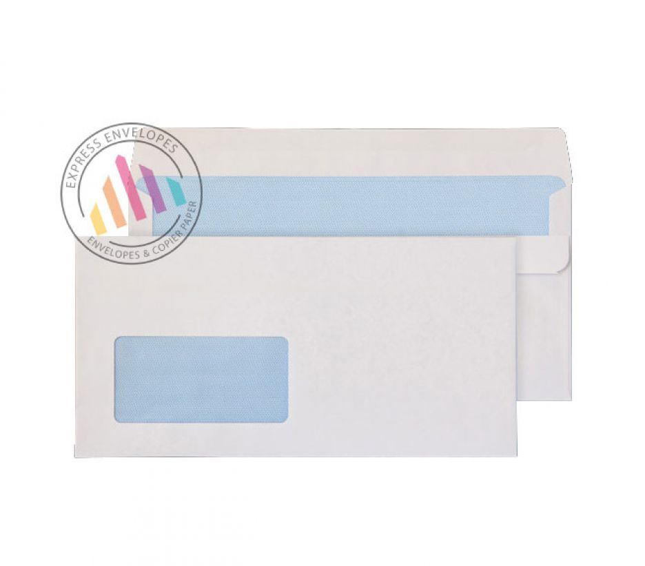Oversize DL- White Commercial  Envelopes - 90gsm - Window - Self Seal