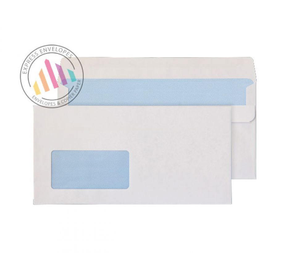 121×235mm - White Commercial  Envelopes - 90gsm - Window - Self Seal
