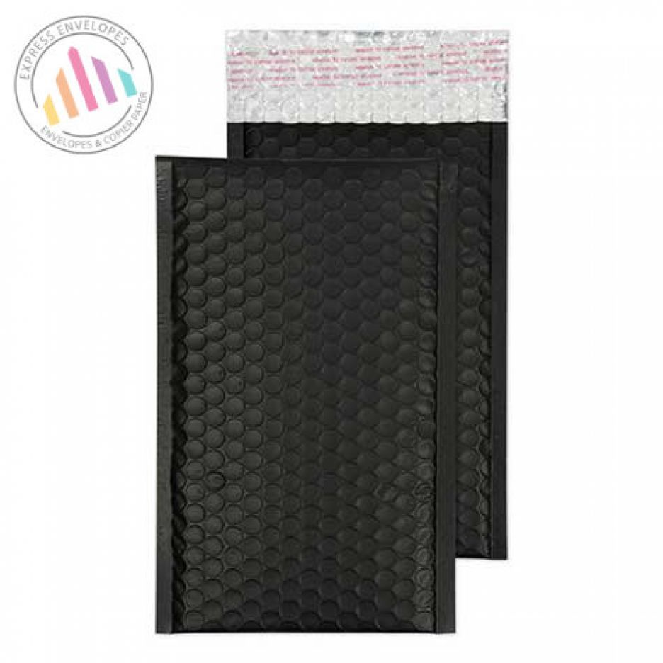 250×140mm - Jet Black Padded Bubble Envelopes - Non Window - Peel and Seal