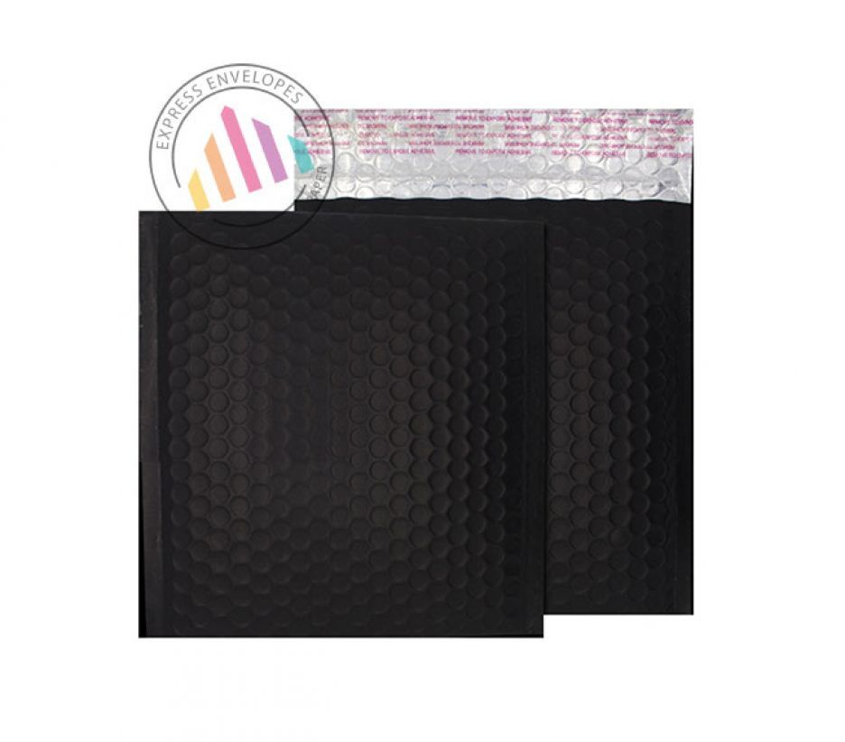 230×230mm - Jet Black Padded Bubble Envelopes - Peel and Seal