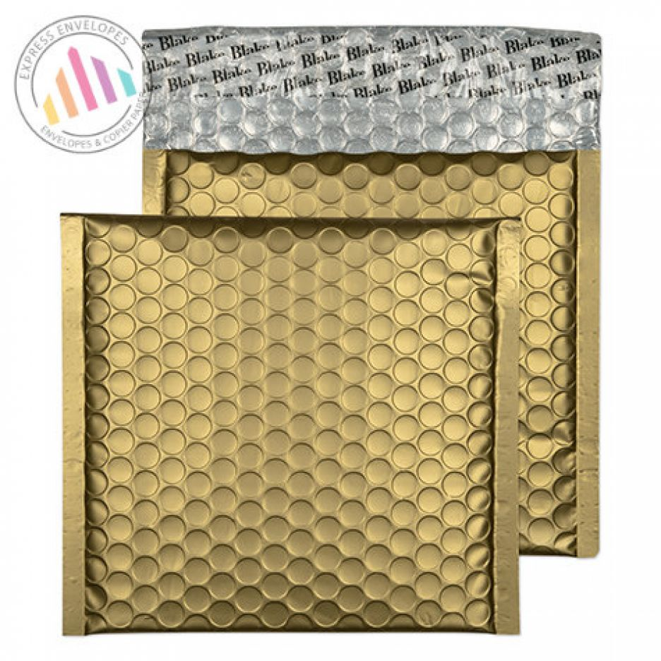 165x165mm - CD Metallic Gold Padded Bubble Envelopes - Peel and Seal