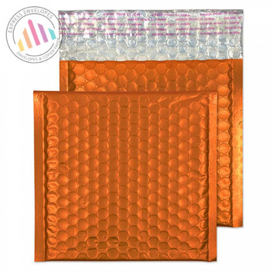 165x165mm - Flame Orange Padded Bubble Envelopes - Peel and Seal