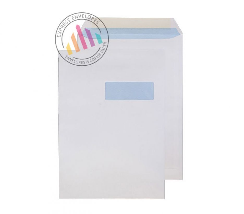 C4 - White Commercial Envelopes - 100gsm - Right Hand Window - Gummed