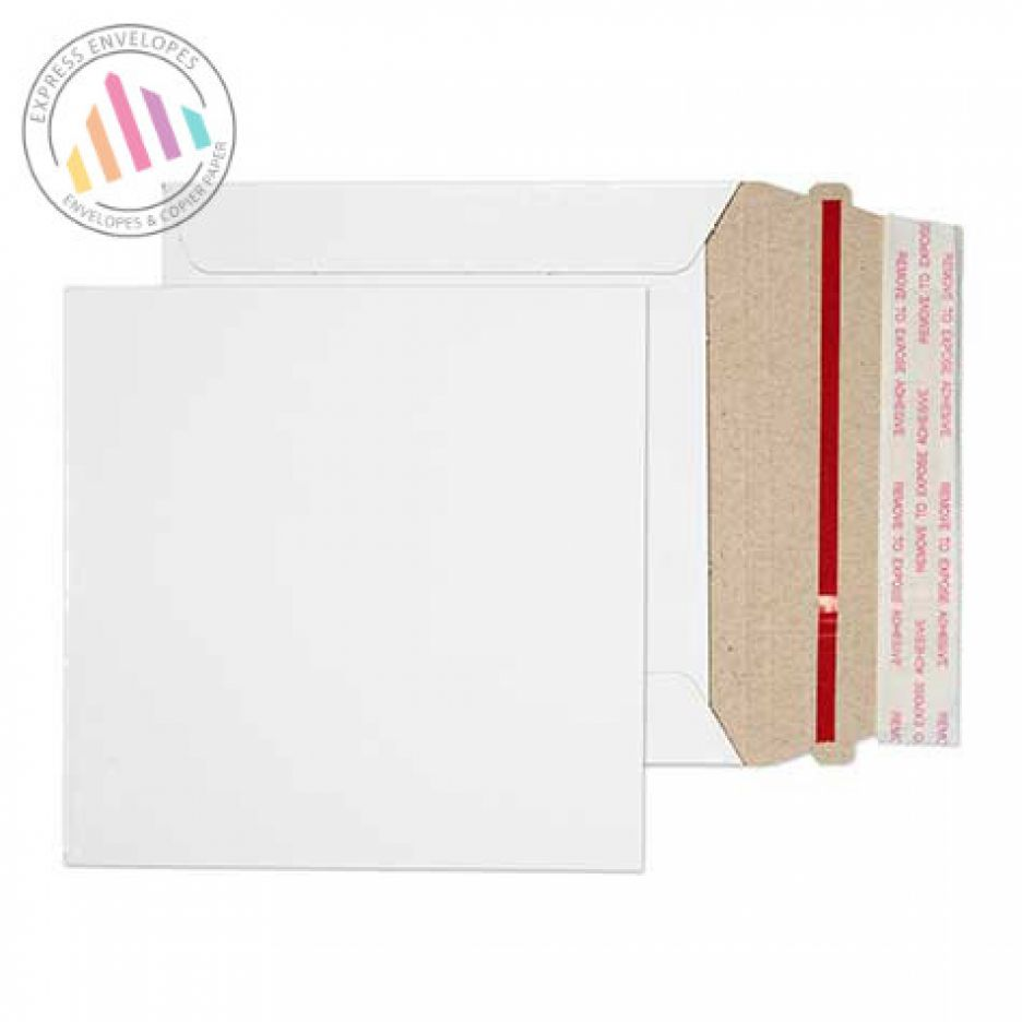 125×125mm - White All Board Envelopes - 350gsm - Rip Strip/ Peel & Seal