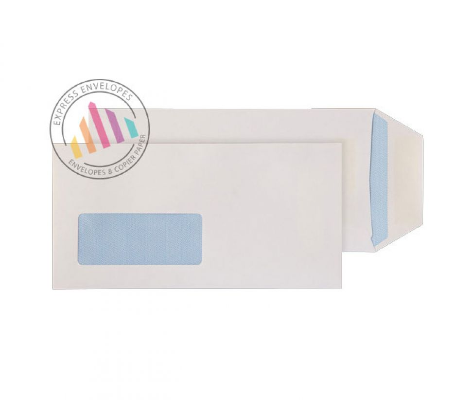 DL- White Commercial  Envelopes - 90gsm - Window - Self Seal