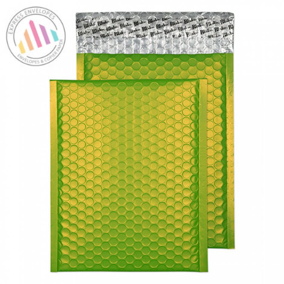 250x180mm - Lime Green padded Bubble Envelopes - Peel and Seal