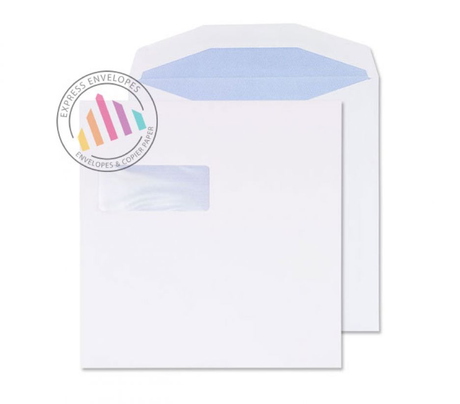 220 x 220mm - White Commercial Envelopes - 100gsm - Window - Self Seal