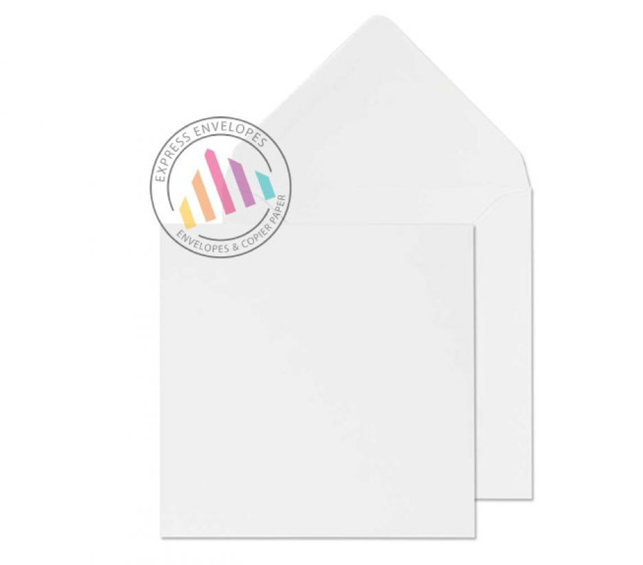 111 x 111 - White Invitation Envelopes - 90gsm - Non Window - Gummed