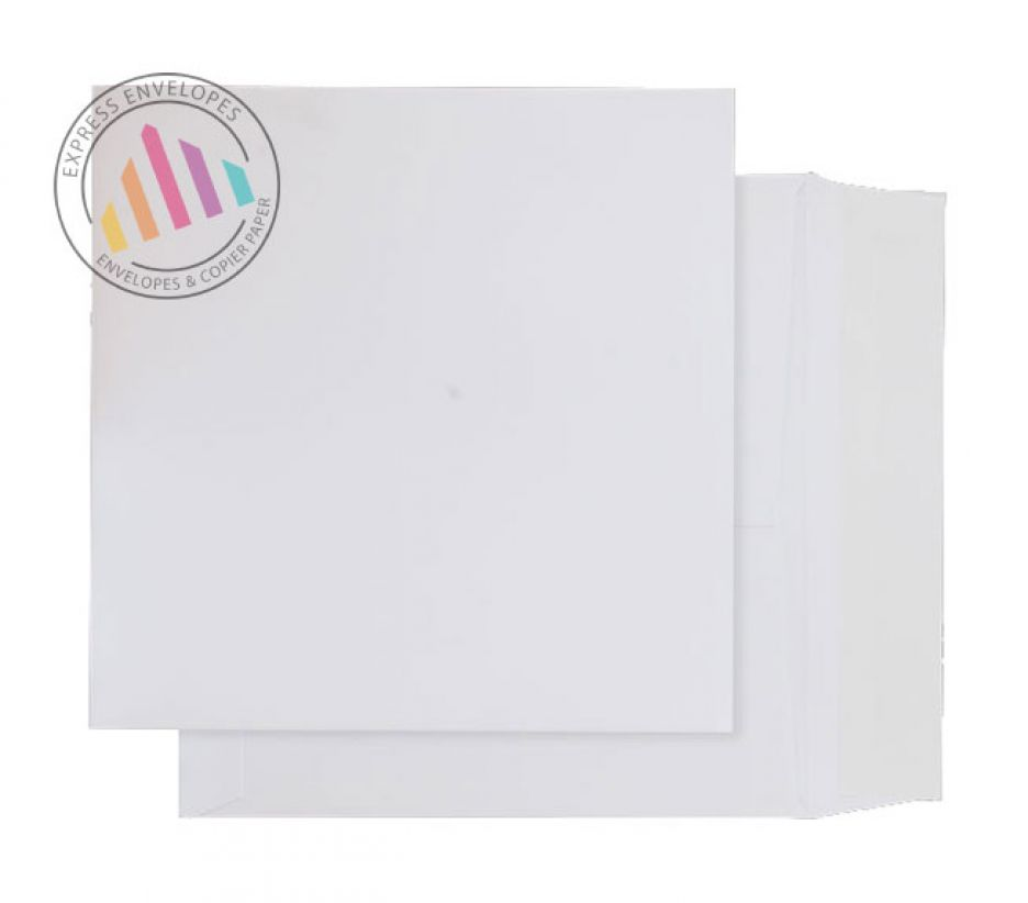 240x240mm -  Ultra White Card Envelopes - 210gsm - Non Window - Peel & Seal