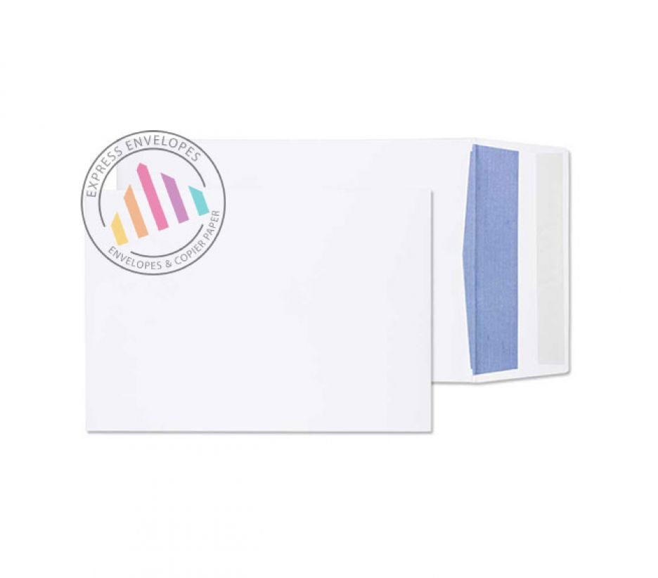 254 x 178 - White Gusset Envelopes - 120gsm - Non Window - Peel & Seal