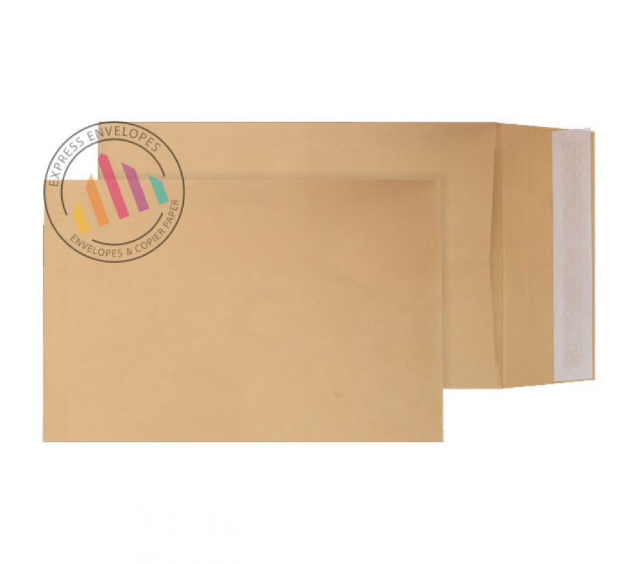381 x 254mm x 25m - Manilla Gusset Envelopes - 140gsm - Non Window - Peel & Seal
