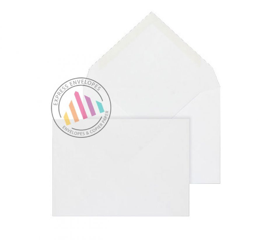 C6 - White Banker Invitation Envelopes - 90gsm - Non Window - Gummed