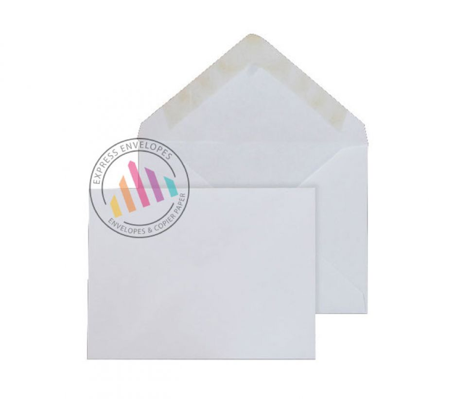 102x146mm - White Invitation Envelopes - 90gsm - Non Window - Gummed