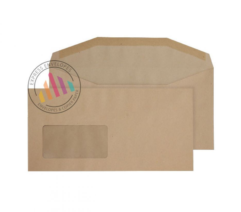 DL+ - Manilla Mailing Envelopes - 80gsm - Window - Gummed