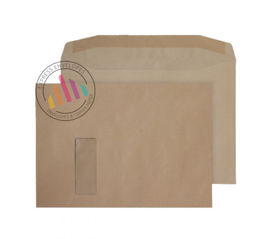 C4 - Manilla Mailing Envelopes - 100gsm -  Window - Gummed