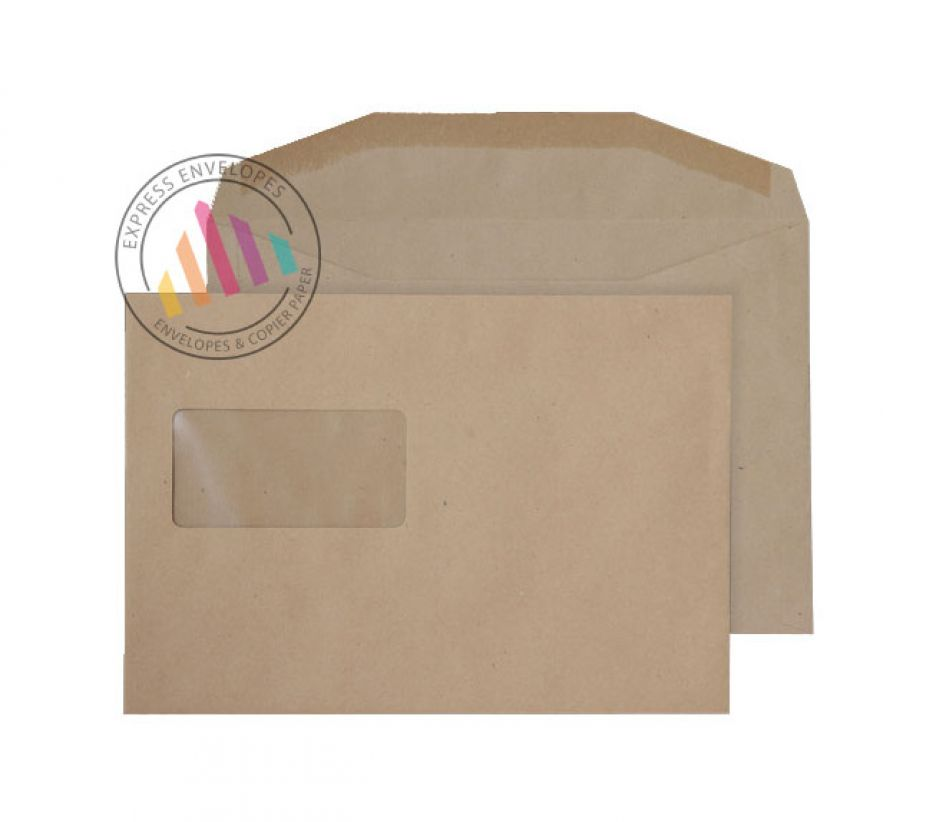 C5+ - Manilla Mailing Envelopes - 80gsm - High Window - Gummed
